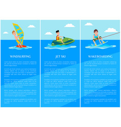 Windsurfing and wakeboarding vector