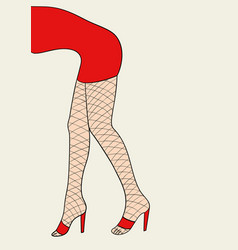 Woman legs with fishnet stocking vector