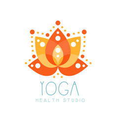 yoga health studio logo symbol health and beauty vector image
