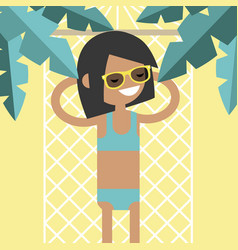 Young female character lying in a hammock under vector