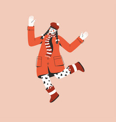 young girl in red coat jumping and spreading her vector image