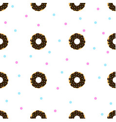 chocolate donuts with blue and pink sprinkles vector image vector image