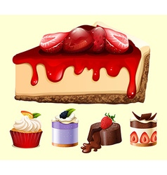 Different kind of desserts vector image