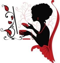 doodle graphic silhouette of a woman vector image vector image