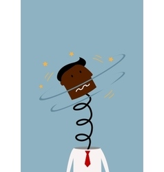 Exploded black businessman with head on the spring vector image vector image