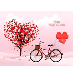 Valentines Day background with a heart shaped tree vector image
