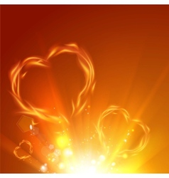 Fire love hearts vector image