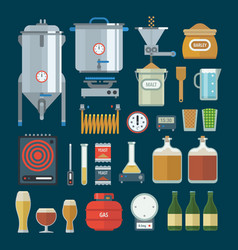 home brewing factory production items vector image