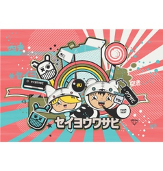 japanese anime design style vector image vector image