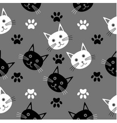 seamless cartoon texture with the heads of cats vector image