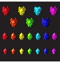 Set of magic crystals or minerals cartoon style on vector image vector image