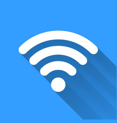 White WiFi icon with long shadow on blue vector image
