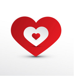 heart icons red and white paper cut hearts vector image vector image