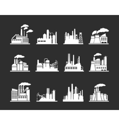 Industry manufactory building icons vector image