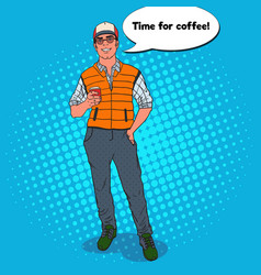 pop art happy cool man with cup of coffee vector image