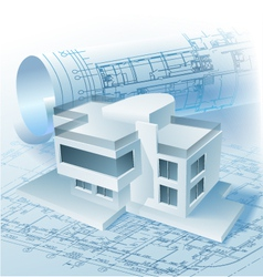 Architectural building model vector image vector image