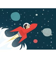 businessman on red rocket vector image vector image