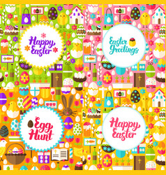 flat happy easter postcards vector image vector image