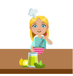 girl mixing in bowl with whip cute kid in chief vector image vector image