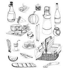 hand drawn picnic items set collection with vector image vector image