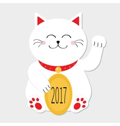 Lucky cat sitting and holding golden coin 2017 vector image