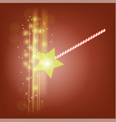 realistic magic wand with starry lights vector image vector image