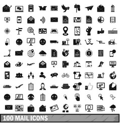 100 mail icons set in simple style vector