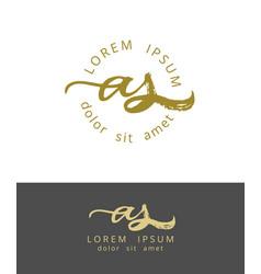 A s initials monogram logo design dry brush vector