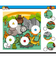 Animals match pieces game vector