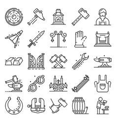 Anvil icon set outline style vector