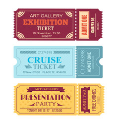 Art gallery exhibition ticket cruise coupon set vector