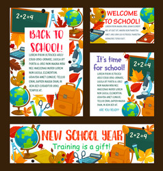 Back to school education stationery posters vector