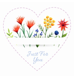 Background with heart and flowers vector