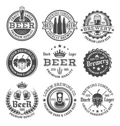 Beer and brewery black and white emblems vector