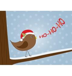 Bird singing ho-ho-ho vector
