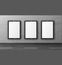 blank street billboards in black frames on wall vector image
