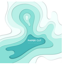 Blue abstract layout - paper cut vector