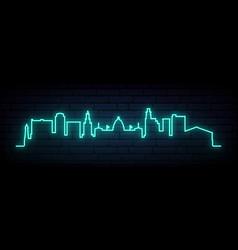 Blue neon skyline jackson bright jackson city vector