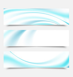 Blue waves and lines on a white backgroundset of vector