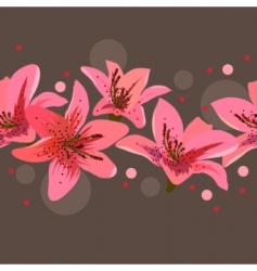 border with lilies vector image vector image