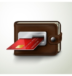 Brown leather wallet atm bank machine vector