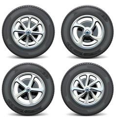 Car wheels side view vector