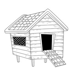 Cartoon chicken coop outline isolated on white vector
