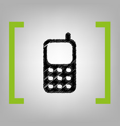 cell phone sign black scribble icon in vector image