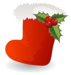 Christmas icon Santa boot with holly vector image
