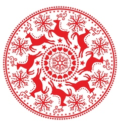 Christmas winter round pattern with reindeer vector