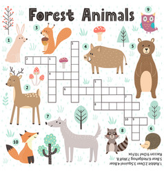 crossword game for kids with cute forest animals vector image