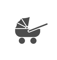 Cute black baby carriage icon on a white vector
