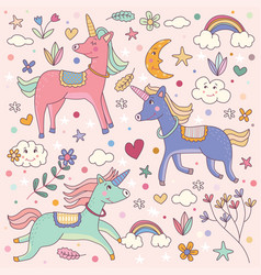 Cute dreamy unicorns and rainbow vector