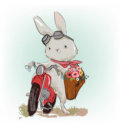 Cute hare on motobike vector